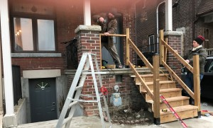 Replacing cement stairs with wooden stairs